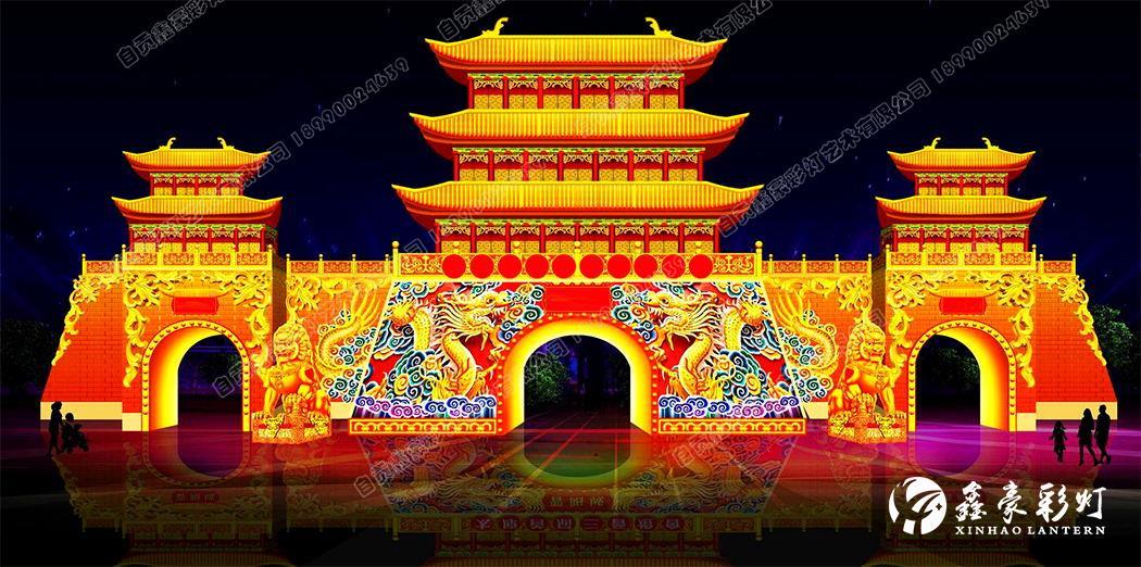 春节彩灯设计_古城楼 
